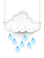 white cloud and hanging rain drops