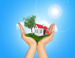 Hands holding house on green grass with label for sale red roof