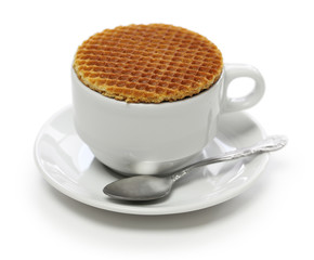 dutch stroopwafel, caramel waffle and coffee