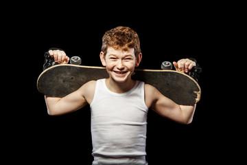 Skateboarder with board