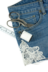 Shorts jeans with lace isolated on white