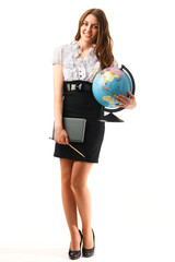 Cute young women with globe