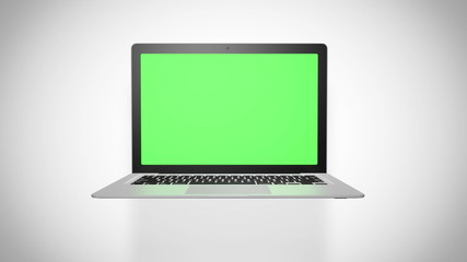 Laptop green screen on white background. Loopable
