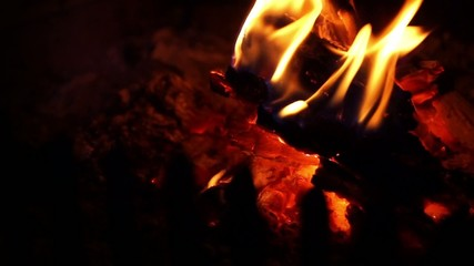background with burning fire with embers in the fireplace