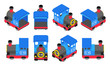Isometric Blue Train - 80025374