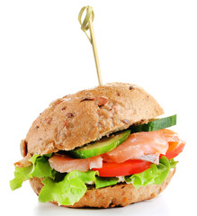 Sandwich with salmon isolated on white