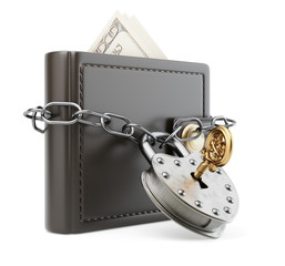 Wallet with chain and padlock