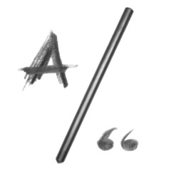 graphite pencil and letter A, isolated on white background