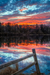 Sundown Pond and Fence