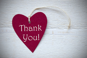 Red Heart Label With Thank You