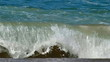 Beautiful coilored sea water wave slow motion