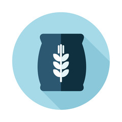 Sack of grain flat icon with long shadow