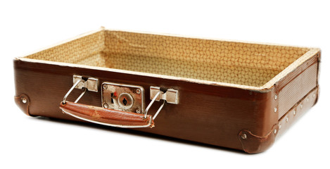 Old wooden suitcase isolated on white