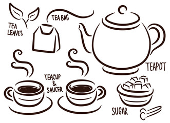 set of tea time icon in doodle style