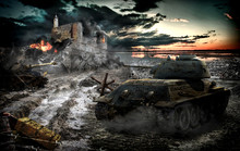 "Постер, картина, фотообои ""Tank attack captured area"""