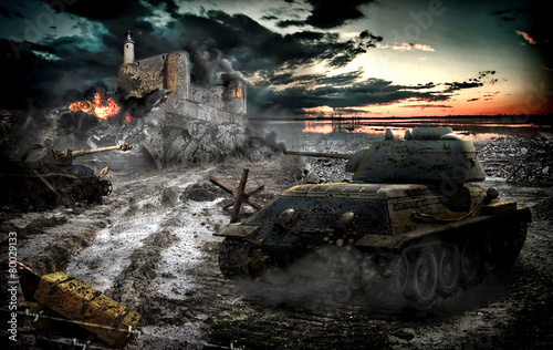 canvas print picture Tank attack captured area