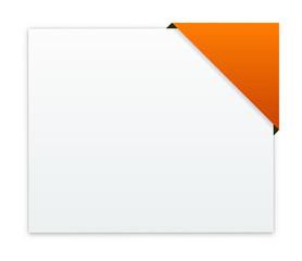 the rectangular box with blank orange corner