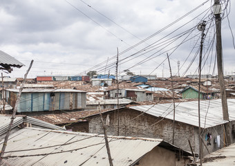 view of Kibera, largest slum in Africa