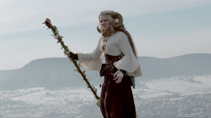 Female Druid casting on mountain