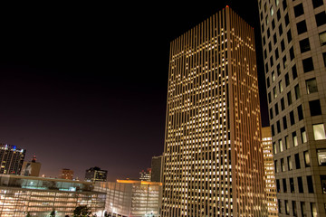 Downtown Houston buildings at night