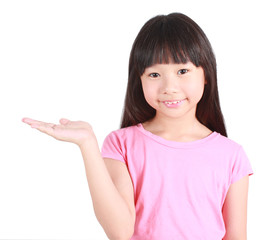 Girl holding open palm empty hand