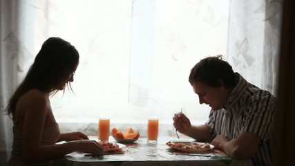 Couple eating breakfast in the morning. HD. 1920x1080