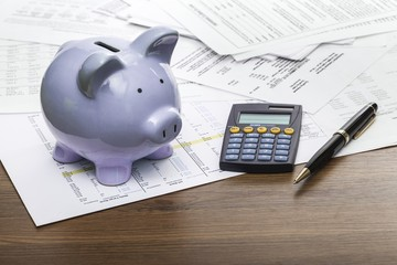Savings. Piggy bank with calculator and business reports