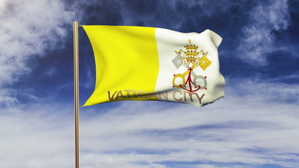 Vatican City flag with title waving in the wind. Looping sun