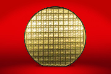 Silicon wafer on red background
