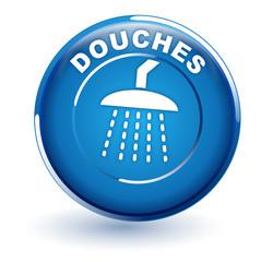 douches sur bouton bleu