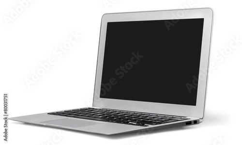Imac. silver laptop on a white background isolated
