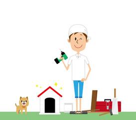 男性 DIY 犬小屋