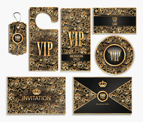 Set of VIP cards with floral design elements