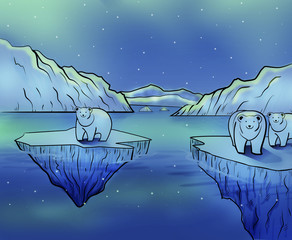 Polar Bears and Northern Lights