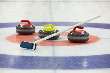 Curling rocks on ice