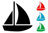 Pictograma barco velero en varios colores