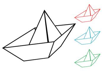 Pictograma barco de papel en varios colores