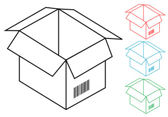 Pictograma caja de carton en varios colores
