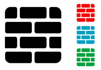 Pictograma muro de ladrillos en varios colores