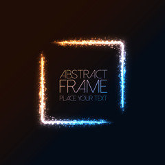 Abstract dark background with color light frame