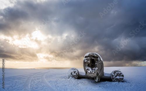 amazing landscape of plane on beach, vik, Iceland - 80034344