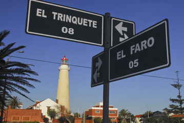 Light house and street sign