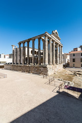 View Diana Temple archaeological remains Merida Spain