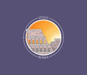 Rome coliseum vector city icon
