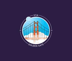San Francisco golden gate vector icon