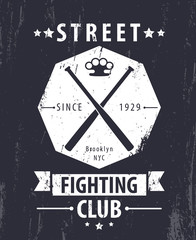Street Fighting Club grunge vintage emblem with crossed bats