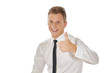 Shot of cheerful businessman showing thumbs up