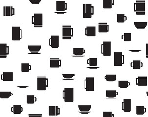 Vector seamless pattern of cups.