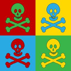 Pop art skull and bones danger sign symbol icons.