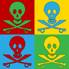 Pop art Jolly Roger symbol icons.
